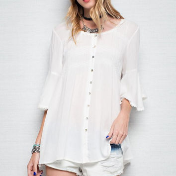 Bell Sleeve Button Down Tunic - Off White