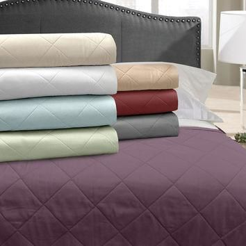 Veratex Home Indoor Bedroom Supreme Stn 500Tc Blanket Coverlet Full/Queen Sage