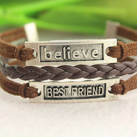 friendship bracelet--bestfriend believe pendant, antique silver charm bracelet,brown leather braid bracelet,MORE COLORS