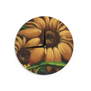 "Cyndi Steen ""Sunflower Days"" Yellow Floral Wall Clock"