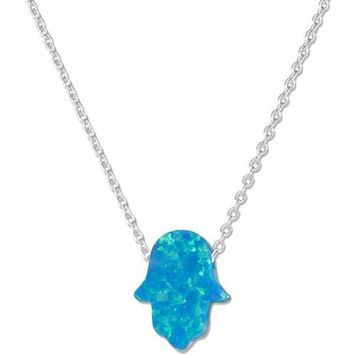 "Sterling Silver Necklace:  Adjustable 15""-17"" Synthetic Blue Opal Hand Of God Hamsa Necklace"