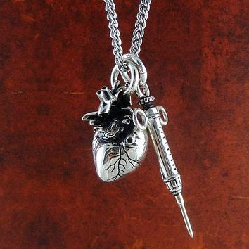 Antique Gothic Heart & Syringe Necklace
