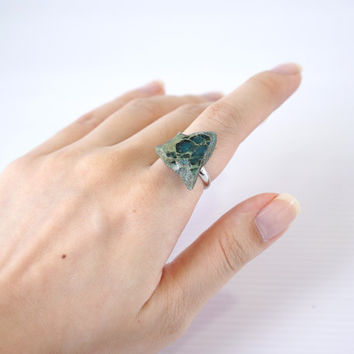 Jasper Green Stone Ring, Turquoise Semi Precious Stone Ring, Unique Geometric Ring, April Finds, One Of A Kind Jewelry, December Birth Stone