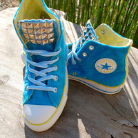 Studded Aqua Velvet Converse - Studded Converse Hard to Find