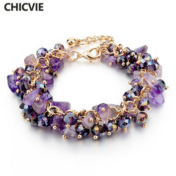 Purple Amethyst Crystal Charm Bracelets & Bangles With Stones Gold plated Bracelet Femme For Women Jewelry