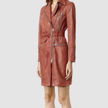 Womens Hendon Leather Coat (Rose) | ALLSAINTS.com