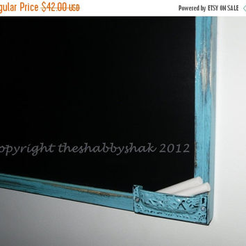 On Sale Framed chalkboard, aqua blue Large chalkboard 17 x 23 / Shabby Chic Decor