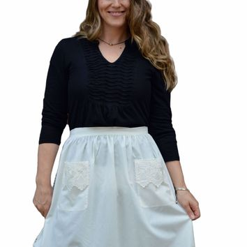 Dutch Lace Adult Half Apron White Maid Costume