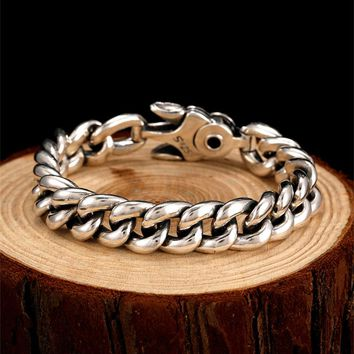 PUNK CHARM STERLING SILVER SPRING CLASP LINK CHAIN BRACELET MEN JEWELRY
