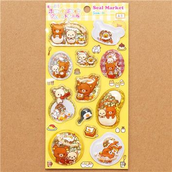 Rilakkuma bear glitter capsule stickers egg kitchen toast - San-X Stickers - Sticker - Stationery