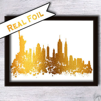 New York skyline real foil print Cityscape gold foil poster Gold foil print New York skyline poster Home decoration Office wall decor G33