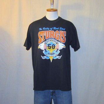 Vintage 1988 STURGIS MOTORCYCLE RALLY Anniversary Graphic Harley Davidson Black Large 50/50 T-Shirt