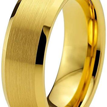 18K Yellow Gold Tungsten Wedding Ring Bevel Edge and Brushed Polished Comfort Fit - 6mm