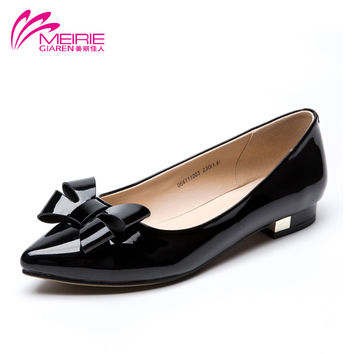 MeiRie's 2016 New Arrival Spring Brand Work Women Flats Comfortable Flat Shoes Women Lady shoes with Bowtie zapatos mujer