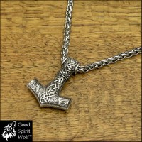 Large Snarling Wolves Viking Hammer On Viking Braid Chain Necklace