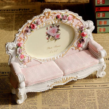 Retro Vintage Pink Flower Sofa Chair Home Decoration Photo Frame Picture Frame Resin 3.5'' x 5''