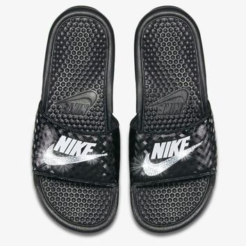 Nike Benassi Sandals / Slides + Crystals - Black/White-Texture