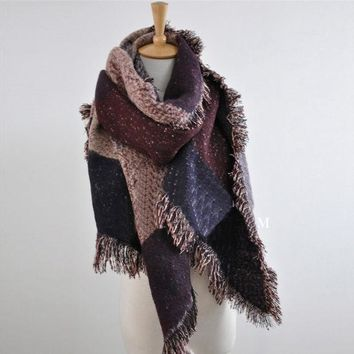 ESBU3C 2016 European Autumn Winter Women Fashion Blanket Scarf Female Cashmere Pashmina Wool Scarf Shawl Warm Thick Scarves Cape Wraps