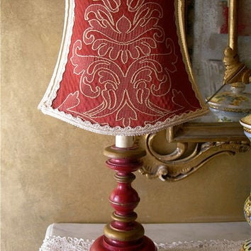 Vintage Antique Red and Gold Turned Wood Table Lamp with Damask Lamp Shade - Made in Italy