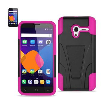 New Alcatel OneTouch PIXI 3 Hybrid Heavy Duty Case With Kickstand In Hot Pink Black