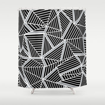 Ab lines Zoom Black and Silver Shower Curtain by Project M