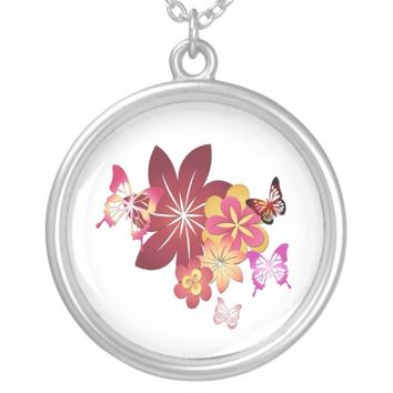 Flowers n Butterflies Round Pendant Necklace