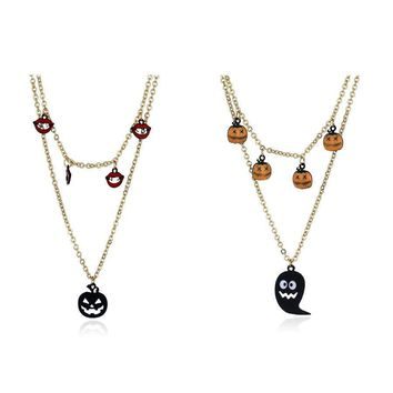 Crystal Lips Pumpkin Long Necklace Chain Sweater Chain Pendant Necklace Women 's Jewelry Vintage Halloween Costume Accessories