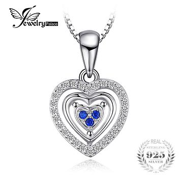 JewelryPalace Heart Love Round Created Blue Spinel Pendant 100% 925 Sterling Silver Woman Fashion Jewelry Not Include A Chain