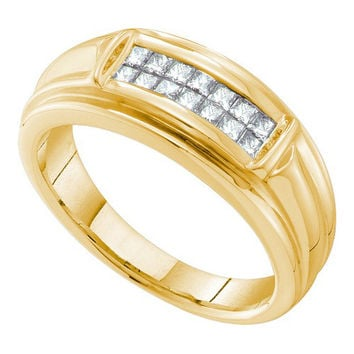 14k Yellow Gold 0.53Ctw Diamond Invisible Mens Wedding Ring Band: Ring