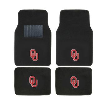 Oklahoma Sooners 2 Front And 2 Rear Carpet Auto Floor Liner Mats
