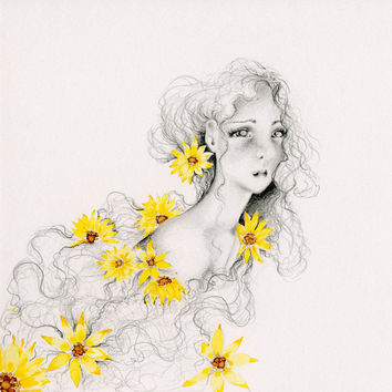 Pencil Drawing Illustration Fine Art Giclee Print of my Original Artwork Yellow Sunflowers Girls Room Evocative Portrait Original Fine Art