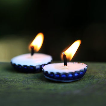 Bottlecap candle : Set of 5 or more little travel tea lights or event candles made from beer bottle caps