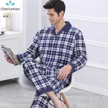 CherLemon Mens Long Sleeve Tops & Elastic Waist Pants Cotton Pyjama Set Classic Plaid Blue Male Spring Autumn Loungewear