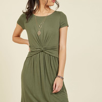 A Whole New Whorl Jersey Dress in Olive | Mod Retro Vintage Dresses | ModCloth.com