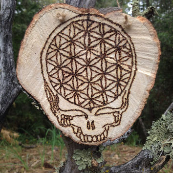 Grateful Dead Wood Burned Wall Hanger ~ Steal Your Face W/ Sacred Geometry ~ Stealy Wall Hanger