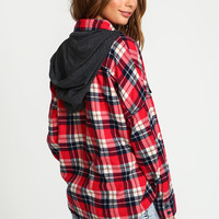 Red Hooded Plaid Shirt