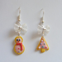 Christmas Xmas Cookies Miniature Food Earrings - Miniature Food Jewelry