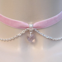 Mini PINK Crystal Glass Heart With CHAIN Baby PINK Velvet Ribbon Choker Necklace - aq... or choose another colour heart/velvet, custom made
