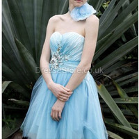 A-line Sweetheart Tulle Short/Mini Blue Beading Party Dress at dressestore.co.uk