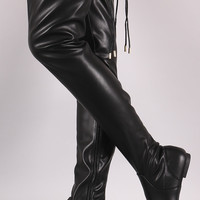 Drawstring Tie Over-The-Knee Flat Boots