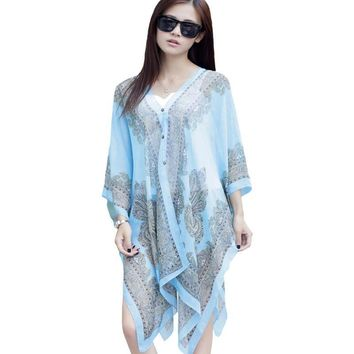 Large Chiffon Sunscreen Beach Tunic Shawl Scarfs Flower Poncho Cape Scarf Women Kaftan Kimono Bikini Beachwear Swimsuit Cover Up