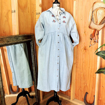 Denim maxi dress  L XL size 14 / 16 / 80s prairie dress / long  jean dress / loose fit denim dress