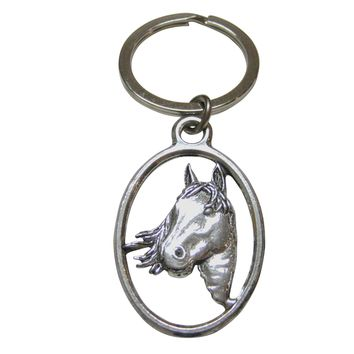 Horse Head Oval Key Chain