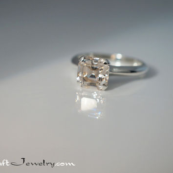 Light Champagne Asscher Cut 2.68 Carat 8mm Cubic Zirconia Sterling Silver Solitaire Engagement Promise Ring Sizes 3-9