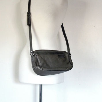 Vintage 80s Handbag / Liz Claiborne Shoulder Bag / Designer Bag / Gray Pebbled Leather Crossbody / 80s Fashion
