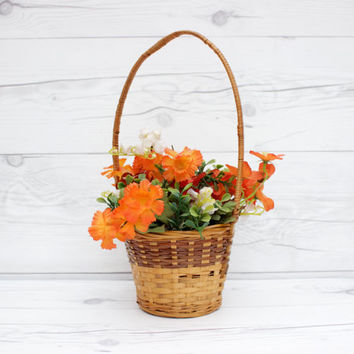 Vintage Brown Woven Wicker Round Decorative Easter Basket | Rustic, Country, Farmhouse Style
