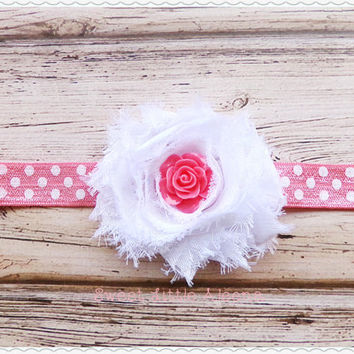 White and Coral Headband - White Shabby Hair Clip - Simple Cute Baby Bows - Newborn Photo Prop - Toddler Girl Hairband - Hairbow Clips