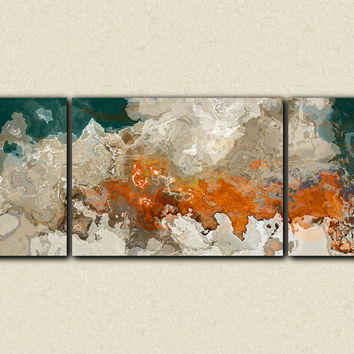 top extra large triptych abstract art x to x canvas print in blue green beige with abstract canvas art
