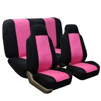 FH-FB105112 Classic Suede Car Seat Covers Pink / Black color Airbag Compatible and Rear Split:Amazon:Automotive