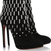 Alaïa Metal-embellished suede boots – 50% at THE OUTNET.COM